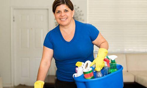 Mature hispanic woman housekeeping